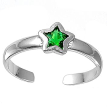 .925 Sterling Silver Emerald Star Adjustable Ring for Ladies and Kids Green Midi or Toe