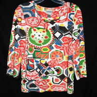 Chicos Artsy Colorful Knit Top Size 0 , XS Small