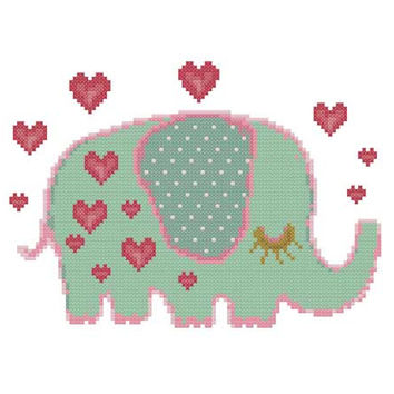 Elephant Love  -  A set of 5 Cross Stitch Patterns in PDF - INSTANT DOWNLOAD