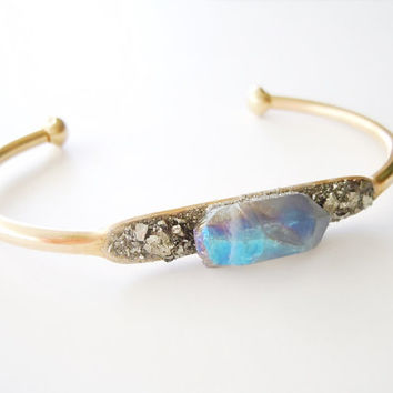 Raw Crystal Point Bracelet - Inlaid Pyrite Minerals Cluster Bracelet - Boho