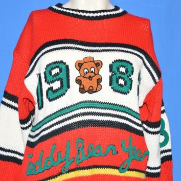 80s Cristina Teddy Bear 1988 Knit Women's Sweater Small