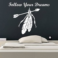 Dreamcatcher Wall Decals Quote Follow Your Dreams Vinyl Sticker Amulets Feather Arrow Boho Bedding Dream Catcher Decal Home Decor Bedroom Bohemian Stiskers Interior Design Art Mural MS764