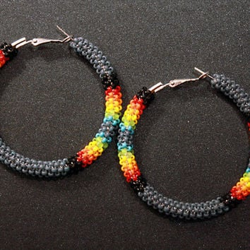 eleumne.com | Gray Native American Beaded Hoop Earrings