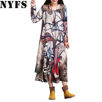 2017 Spring Autumn Women Dress Plus Size Irregular hem Long Dress Vintage Cotton Linen Vestidos Robe Dresses(No neckerchief)