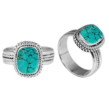 "SR-8052-TQ-7"" Sterling Silver Ring With Turquoise"