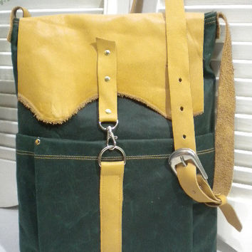 Hunter Green Waxed Canvas & Leather Flap in by maycascollection
