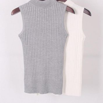 High Quality Summer Women Mock Neck Top Turtleneck Sleeveless T-shirt Slim Knitted Vest Female Tee Knitwear