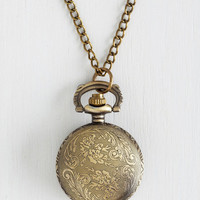 ModCloth Vintage Inspired Today's Timeline Necklace in Bronze