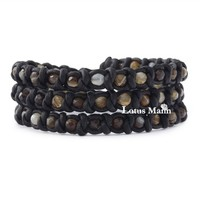 CL Lotus mann Brown Sardonyx Triple Wrap Bracelet on Knotted Natural Dark Brown Leather-in Wrap Bracelets from Jewelry on Aliexpress.com