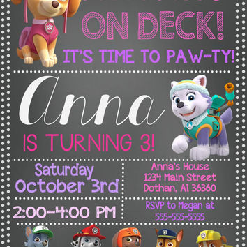 Girl Paw Patrol Invitation Birthday Invi