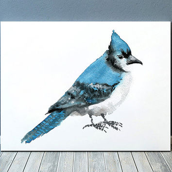 Blue jay print Cute nursery art Bird watercolor ACW132