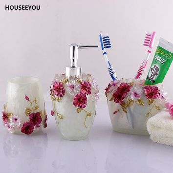 3D Sculpture Board Resin Flowers Bathroom 5 Suite Toiletries Bathroom Accessories Set 5pcs/set