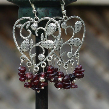 Red Garnet Earrings ~ Chandelier Earrings ~ Boho Jewellery ~ Red Heart Earrings ~ January Birthstone ~ Bohemian Jewelry ~ Gift for Mum