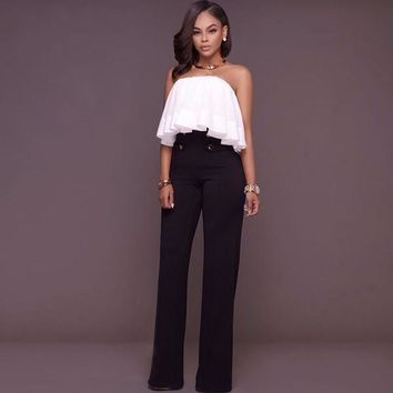 Ladies High Waist Buttons Palazzo Pants