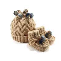 Knitted Baby Hat and Booties - Beige, 9 - 12 month