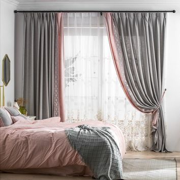 C802 Grey/Light pink 2 in 1 Window Curtain Panel, Sheer window curtain with pink embroidered floral pattern