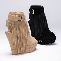 Fringe Wedge Bootie