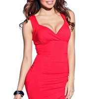 Raquel Sultry Red Deep V Neck Lace Back Sleeveless Wrap Dress