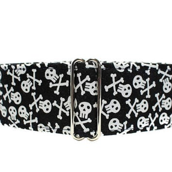 Skull Martingale Collar Greyhound, 2 Inch Martingale Collar, Skull and Crossbones Dog Collar, Black and White Martingale Collar