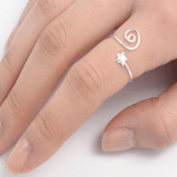 .925 Sterling Silver Star Spiral Swirl Adjustable Ladies Ring size 3-9 Midi Thumb Toe or Kids