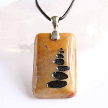 Rock Cairn - Engraved Stone Pendant - A Celebration of the Journey - Moonlight Jasper