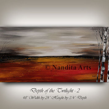 Minimalist, Landscape painting original large painting, gray abstract oil sunsets painting red scenic modern art by