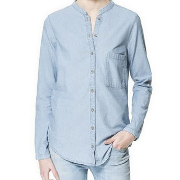 Denim Blue Mandarin Collar Long-Sleeve Button Shirt