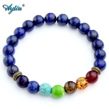Ayliss New Hot Natural Dyed Lapis Lazuli Stone Beads 7 Chakra Healing Balance Bracelete Feminino Lava Yoga Reiki Prayer 8mm Bead