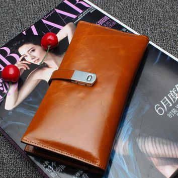 100% Genuine Leather Wallets Natural Real Skin Men&Women Wallets Purses High Quality Fashion Lady Wallet Vintage Party Clutch 14
