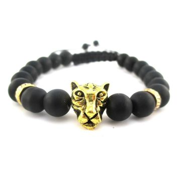 Detailed Tiger Face Charm Adjustable Length Black Beaded Bracelet in Gold