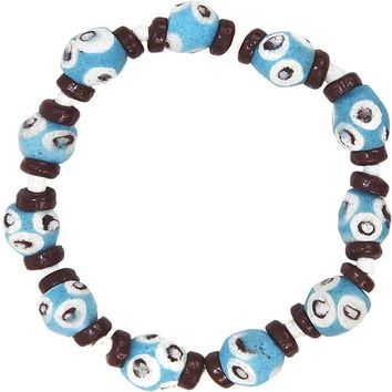 Hand Painted Recycled Glass Bracelet Blue - Global Mamas