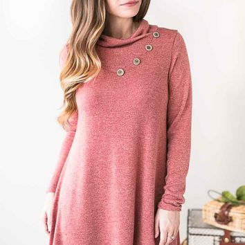 Wishing Well Button Detail Sweater- Mauve