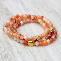 orange stacking bracelet 6 mm bright sunny bracelet beaded gold fish summer bracelet stretch statement bracelet casual beach bracelet