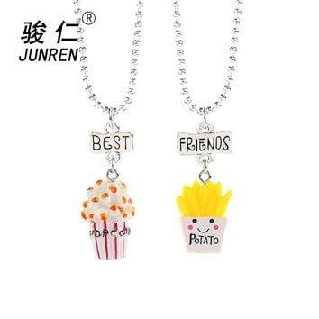 2 Pcs/Set Lovely Imitation Food Popcorn and chips Resin Pendants Necklace Lettering Best Friend Necklace For Friend's Gift