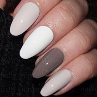 Nude Cream Grey Brown Mix Handpainted False Nails • Fake Nails • Press on Nails • Stick on Nails