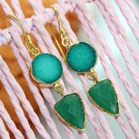 Zj-4101 Exclusive Sale! Green Sugar Druzy & Onyx 24kGold Plated 2.0'inch Earring