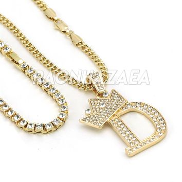 Iced Out Crown D Initial Pendant Necklace Set