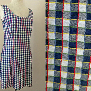 Vintage 80s 90s Cotton Dress // eSprit // Blue Yellow Green Red White // Gingham Checkers // Medium Large