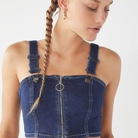 UO Max Zip-Front Denim Cropped Top | Urban Outfitters