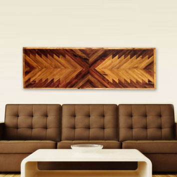 Incredible chevron pattern wall panel / coffee table top. made with upcycled and new wood.