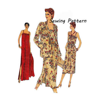 1970s Vogue 7369 Woman's Shawl Collar Open Jacket and Spagetti Strap Maxi Dress Pattern Size 10 || Bust 32.5in/83cm ||Vintage Sewing Pattern