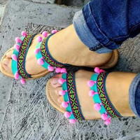 Boho Ethnic Tribal Sandals Turquoise Pink Double