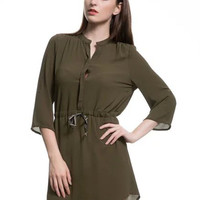 Army Green Half Bell Sleeve Drawstring Waist A-Line Mini Dress