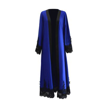 Lacy Outwear Dubai Kaftan Muslim Gown Abaya Middle Eastern Maxi Robe for Women Girls