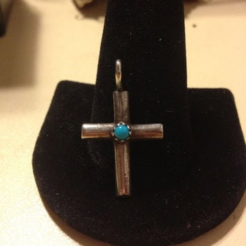 NAVAJO Turquoise Cross Sterling Silver 925 Pendant Slide Enhancer Charm Necklace Blue Crucifix Religious Tribal Vintage Southwestern Jewelry
