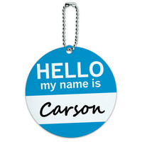 Carson Hello My Name Is Round ID Card Luggage Tag