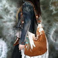 Cow leeather cowhide white rust brown hair on hide fringe cowchick western southwestern boho bohemian hobo vintage strap turquoise country