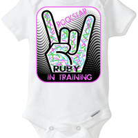 Rockstar In Training: Embellished Gerber Onesuit - Personalized baby gift with baby's name included- you choose Pink or Aqua - Preemie avail!