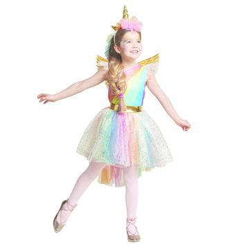 Girls' Dress Rainbow Unicorn Party With Headband Halloween Christmas Cosplay Costume Kids 2018 Summer Dress Party Dress