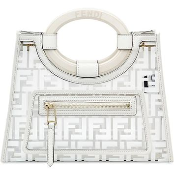 White Calf Leather Runaway Shopper Bag by Fendi